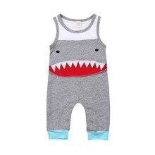 a568ea2cac4df Nouveau-né bébé garçons filles vêtements dessin animé requin barboteuse  sans manches combinaison combishort été