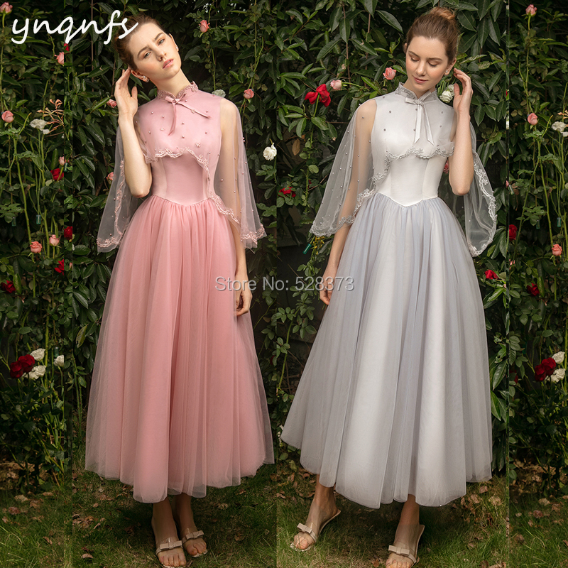 YNQNFS B7 Tea Length Tulle Cape Cloak Sleeves High Neck   Bridesmaid     Dresses   Party Guest Wear Graduation   Dresses   Vestido Curto