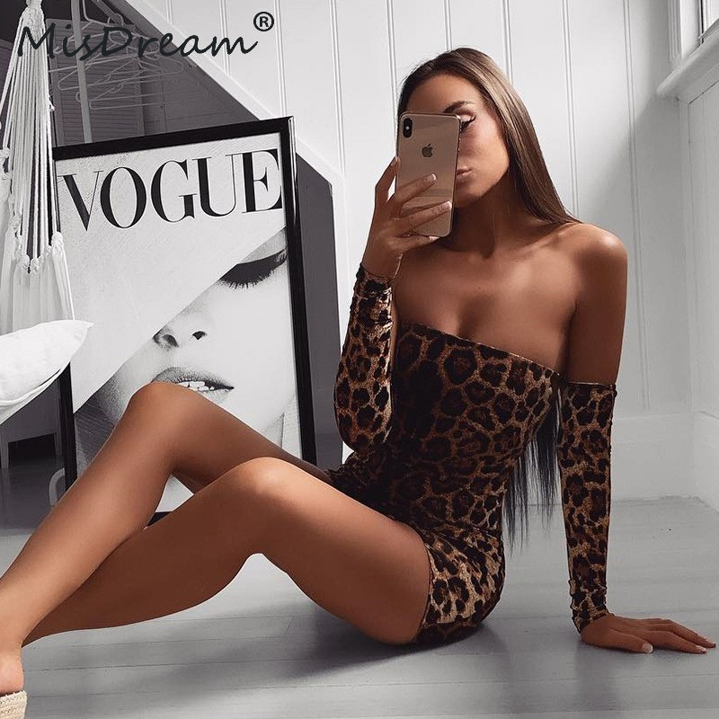MisDream Backless Lace Up Party Dress Sexy Leopard Print Pencil Off Shoulder Club Dress Autumn Long Sleeve Women Dresses Vestido