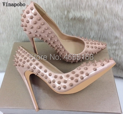 sexy nude rivets Patent Leather high heels shoes woman Classic pointed toe women's pumps heels shallow mouth party wedding shoes