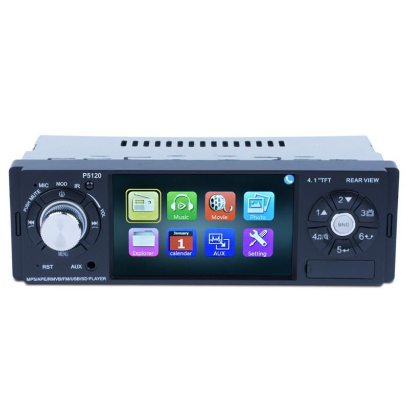 P5120 4.1 pouces 1 din Autoradio MP5 lecteur Radio FM Bluetooth AUX Autoradio Support caméra de recul commande au volant