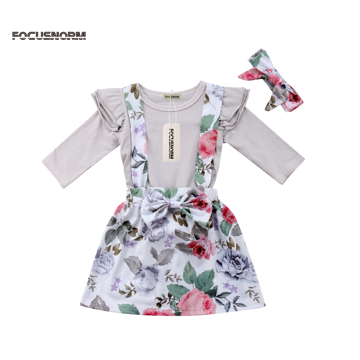 Newborn Kid Baby Girl Clothes Romper Bodysuit Jumpsuit Floral S kirt Outfits Set Bib Dress