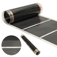 Black 60 degree Electric Home Floor Infrared Underfloor Heating Film Warm Mat 50cmx6m