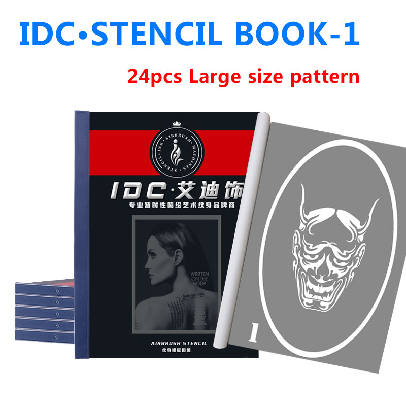 Wholesale Airbrush Glitter Tattoo Stencil Drawing Large patterns sticker Henna temporary art Stencils books set-1