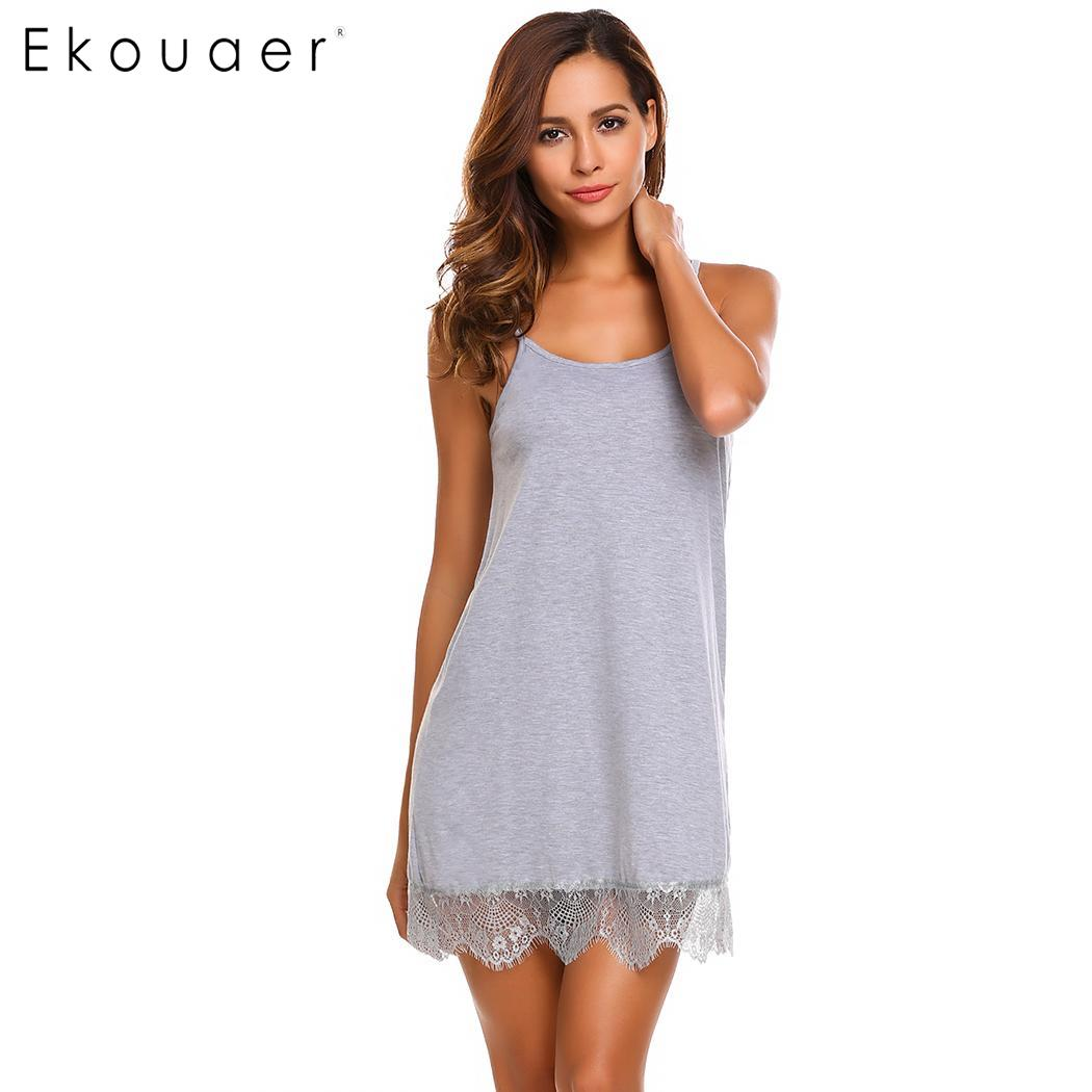 Ekouaer Sexy Nightgown Lingerie Sleepwear Babydoll Nightdress Women Lace Night Dress Full Slips Chemise Sleepshirts Nightwear