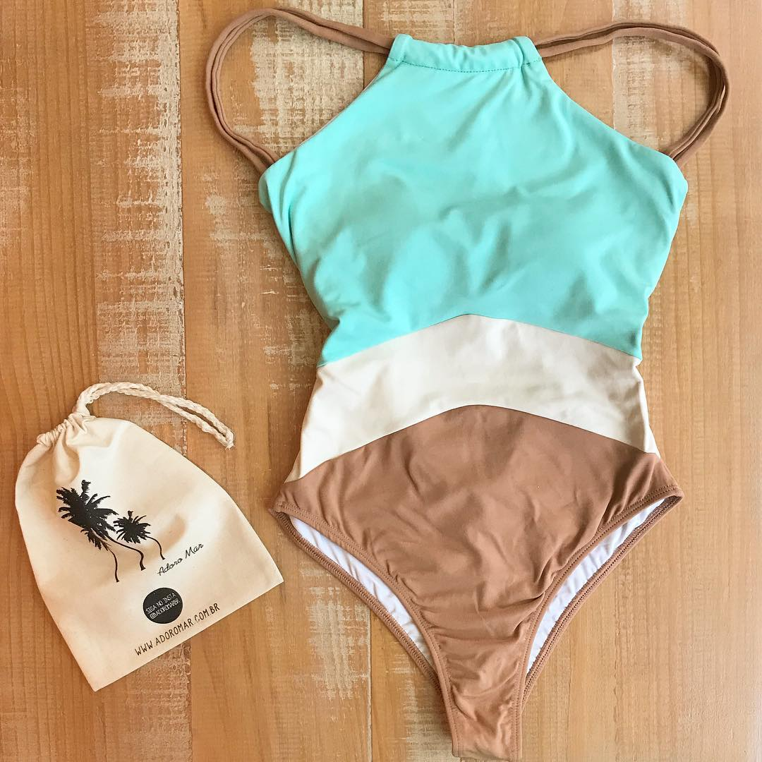 2019 Patchwork One Piece Swimsuit Swimwear High Neck Bodysuit Bathing Suit Women Piece Swimwear Beach Wear Monokini in Body Suits from Sports Entertainment
