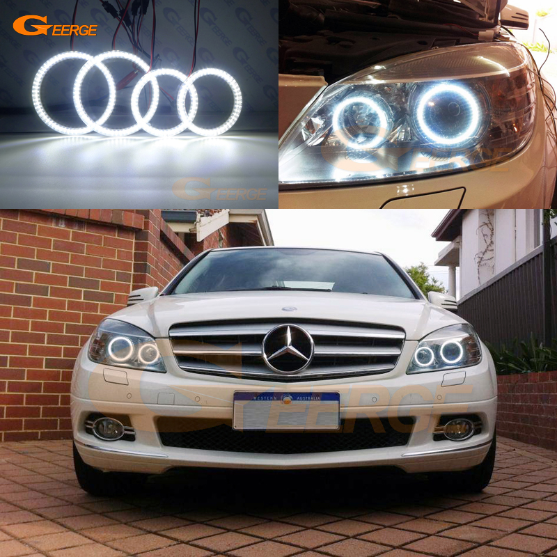 Pour MERCEDES BENZ Classe C W204 C204 S204 C300 C350 C63 2007-2011 Xenon phare Ultra lumineux smd led ange Yeux kit DRL