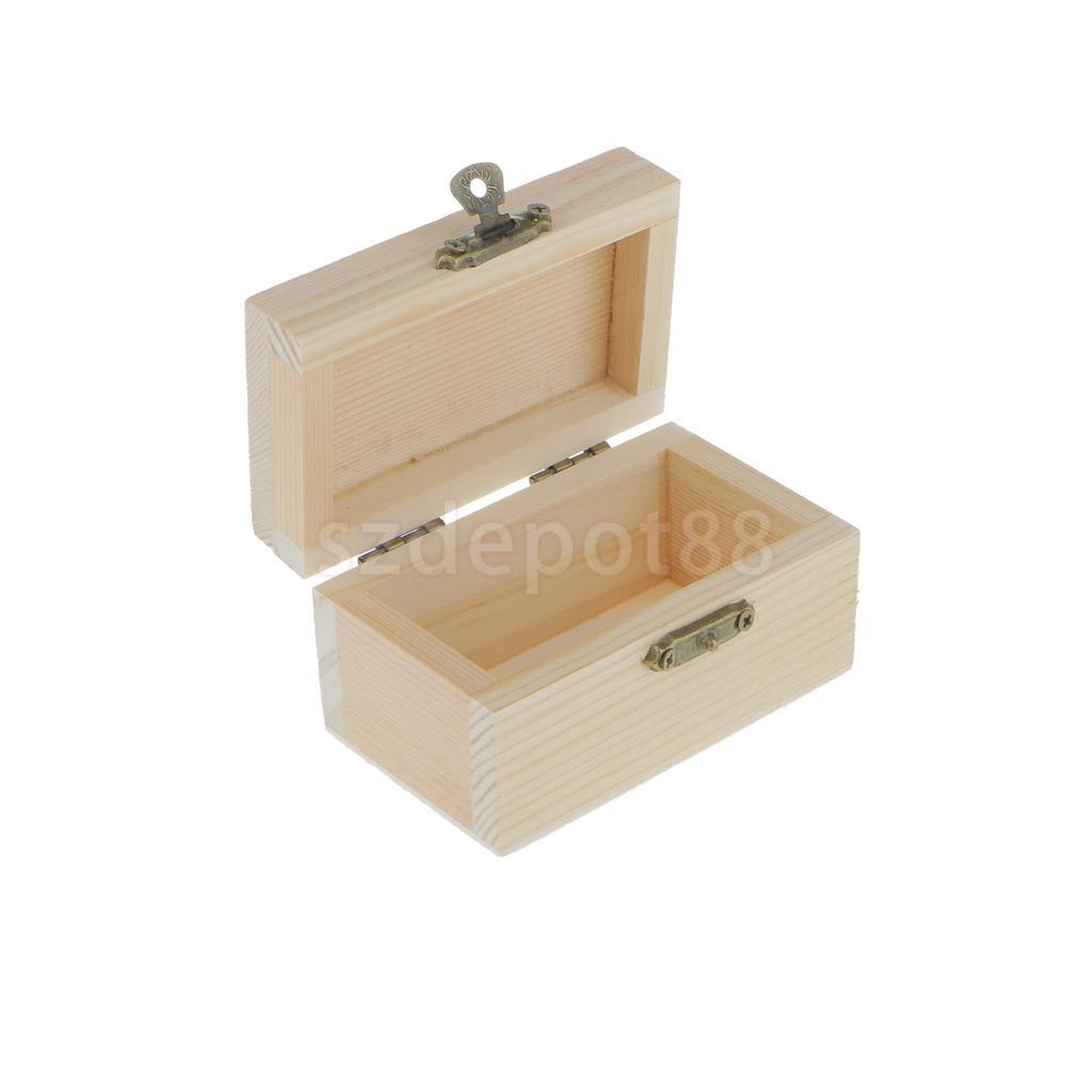 Phenovo Unfinished Unpainted Plain Wooden Rectangle Jewellery Tiny Tool Box Keepsake
