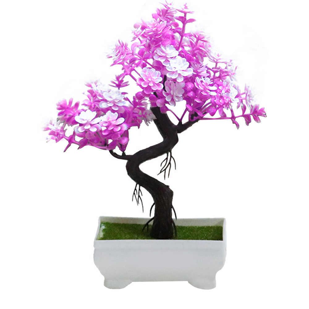 Счастливый Удар дерево пластик подарок поддельные растения имитация горшечных растений Моделирование цветок орнамент искусственное растение легкий DIY