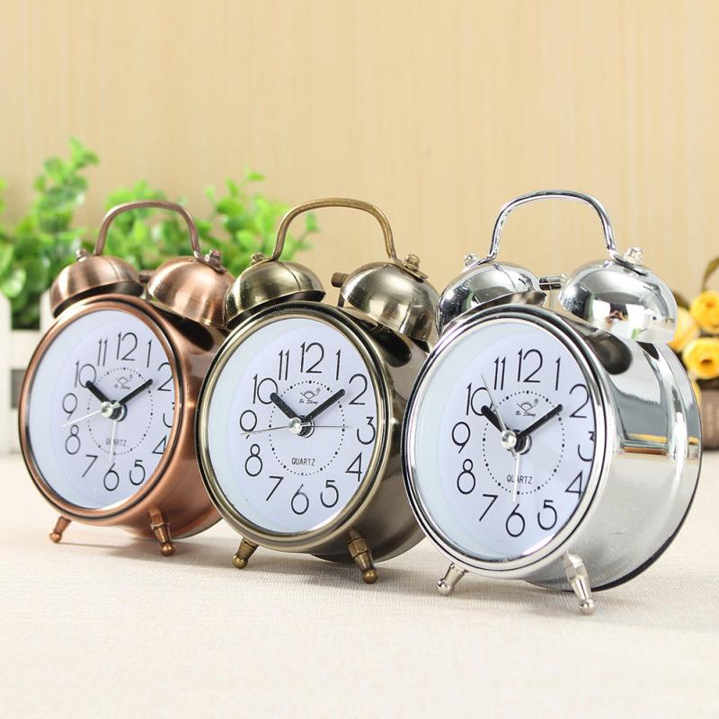 Alarm Clock Vintage Retro Silent Pointer Clocks Round Number Dual Bell Loud Alarm Clock Bedside Night Light Home Decors #1112