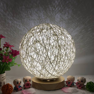 Table-Lamp Lampshade-Wood Wedding-Decoration Bedroom Home Moonlight-Night-Light Creative
