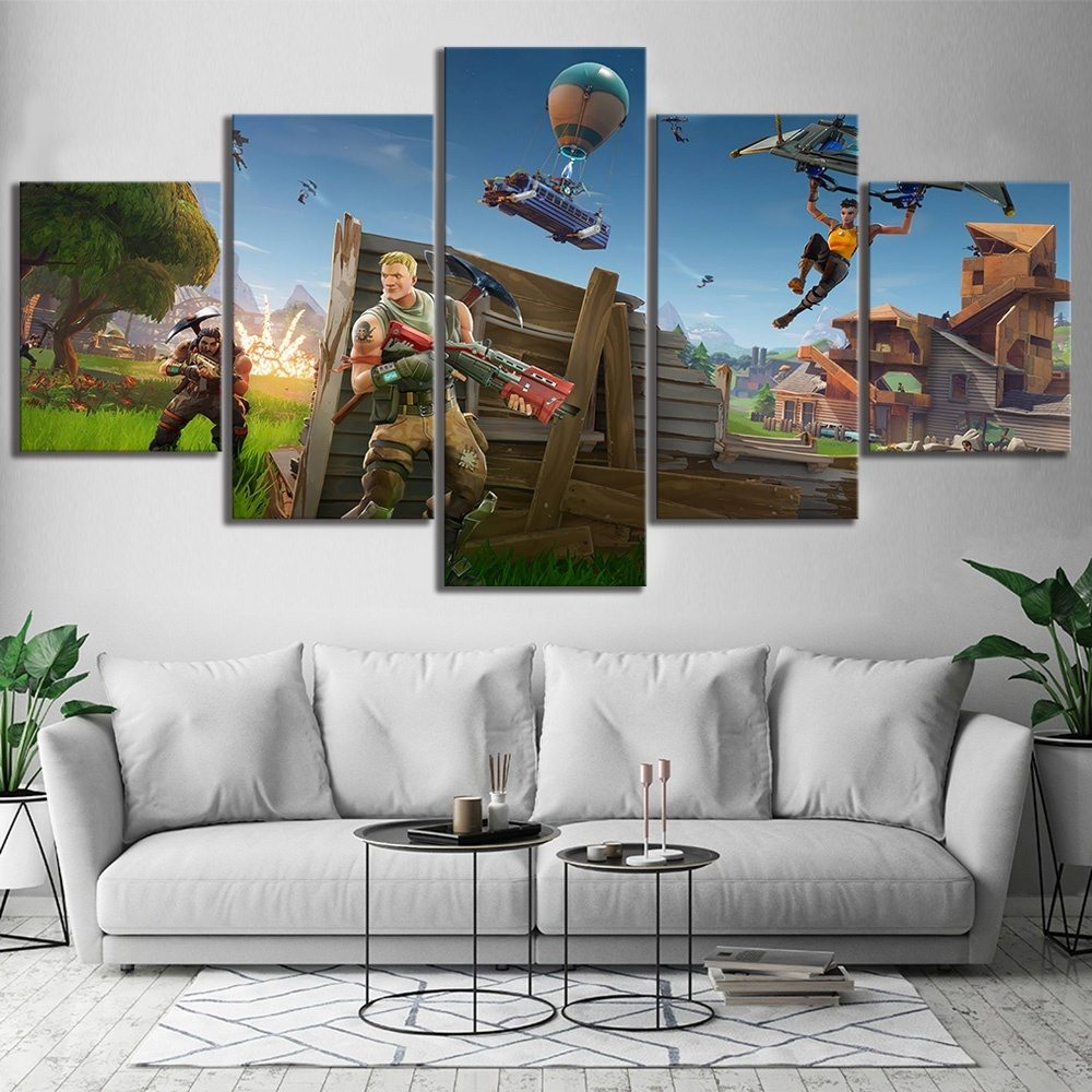 5 Piece Fortnight Battle Royale Game Poster Paintings on Canvas Fort Cartoon Nite Wall Pictures for