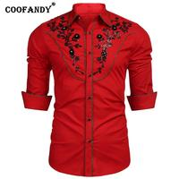Casual Casual Formal Embroidery Sequin Fashion Shirt Men Floral Autumn Buttons Western Spring Embroidery Patchwork