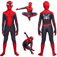 Костюм для косплея «Человек-паук», «вдали от дома», «Питер Паркер», «зентай», костюм супергероя, комбинезон, Детский костюм на Хэллоуин