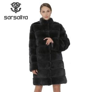 Image 2 - SARSALLYA Rex Rabbit Fur Women Coat  Detachable Overcoat Jacket Warm Winter Women Clothing Natural Fur Female Coat Jacket