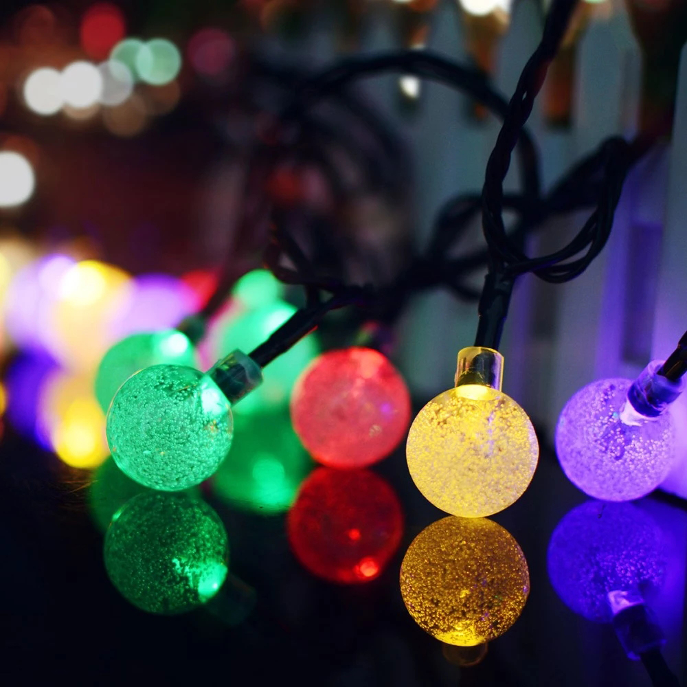 30PCS Bubble ball Outdoor Waterproof Solar Light String Christmas Decorative Fairy Lights for Garland Street Holiday Lighting