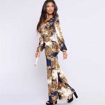 Tobinoone 2018 New Arrival Sexy Bodycon Jumpsuit Women Wide Leg Elegant Vintage Print Casual Romper Woman Jumpsuit Overalls 2