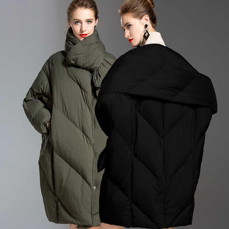 Корейский модный пуховик для женщин, большой размер, Зимний новый стильный Плотный белый утиный пух, большой размер, пуховик, пуховик для зимы