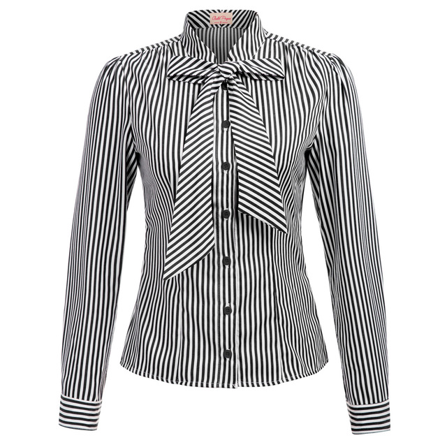 c26aa1014898ab BP classic office shirt Women Vintage Retro Striped pattern Long Sleeve  elegant ladies bowknit Tie Shirt