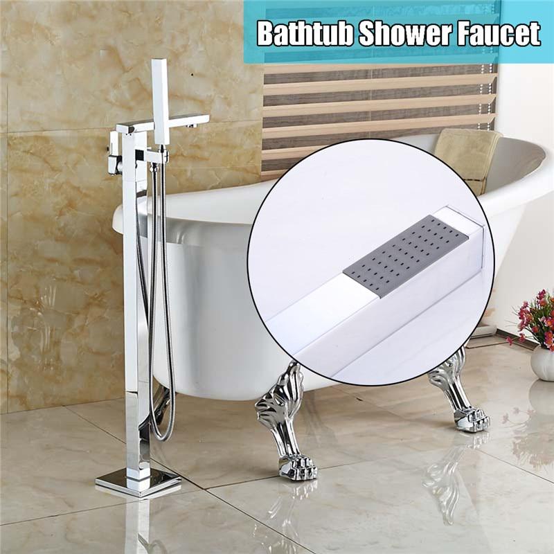 Xueqin Chrome Floor Stand Shower Faucets Floor Bathtub Mixer Tap Faucet Square Single Handle Shower Tap Bathroom Shower Faucet