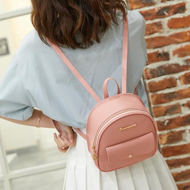Mini Backpack Women PU Leather Shoulder Bag For Teenage Girls Kids Multi-Function Small Bagpack Female Ladies School Backpack 2