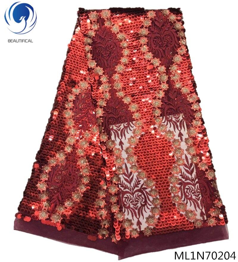 Hermoso vestido de encaje bordado de lentejuelas tela de encaje africano con lentejuelas 5 yardas/lote envío gratis Venta al por mayor y al por menor ML1N702-in encaje from Hogar y Mascotas    1