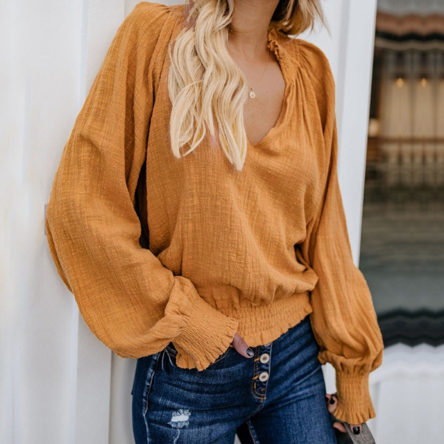 Casual Cotton Linen Shirt Women Blouses Lantern Sleeve V Neck Vintage Long Sleeve Ladies Blusas 2019 Summer Autumn White Red