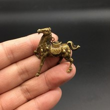 Collectable Chinese Brass Carved Animal Zodiac Horse Moral Wealth Exquisite Small Pendant Statues(China)