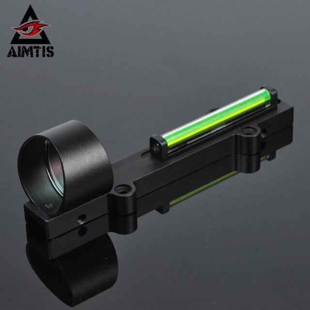 AIMTIS 1X28 зеленый круг точка ребра Rail волокно прицел коллиметр свет Condutor рефлекс прицел Fit 11 мм Rail Airsoft дробовик