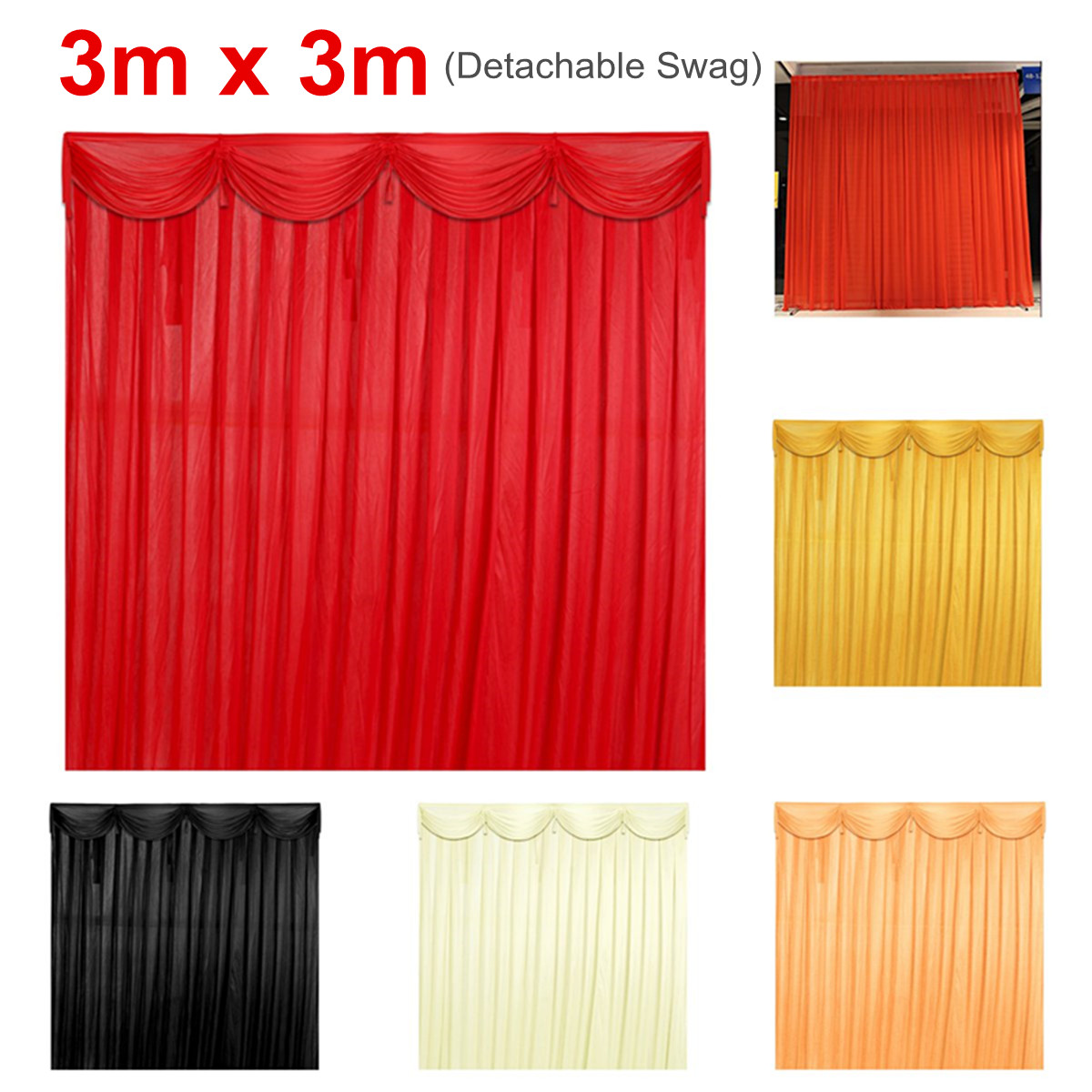 Silk Satin Wedding Stage Backdrop Curtain Drape Party Decor Detachable Swag Birthday Party Wedding Decoration 5 Colors 3x3 MSilk Satin Wedding Stage Backdrop Curtain Drape Party Decor Detachable Swag Birthday Party Wedding Decoration 5 Colors 3x3 M
