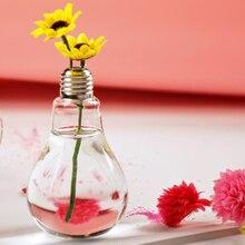 Shining Light Wedding Decoration Bulb Transparent Glass Vase Hydroponic Flower for Home Decor A