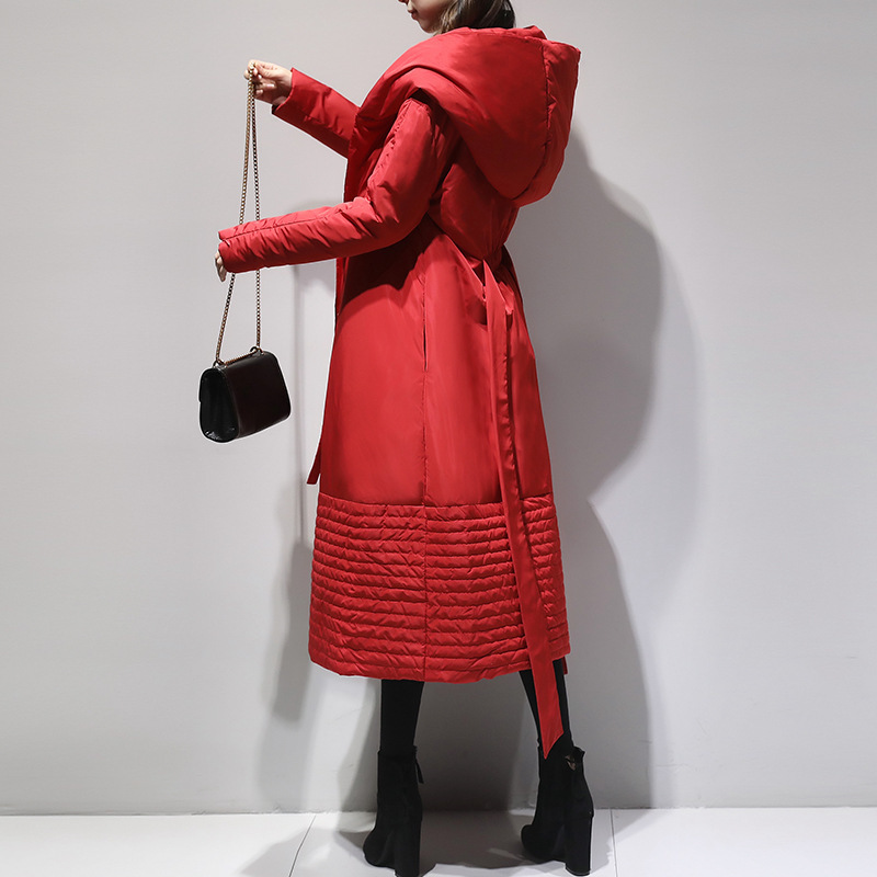 LANMREM Nouvelle Mode À Capuchon Élastique Wais Hiver Veste 2018 Femelle de Type Long Noir Rouge Chaud Manteau Jaqueta Feminina YF164