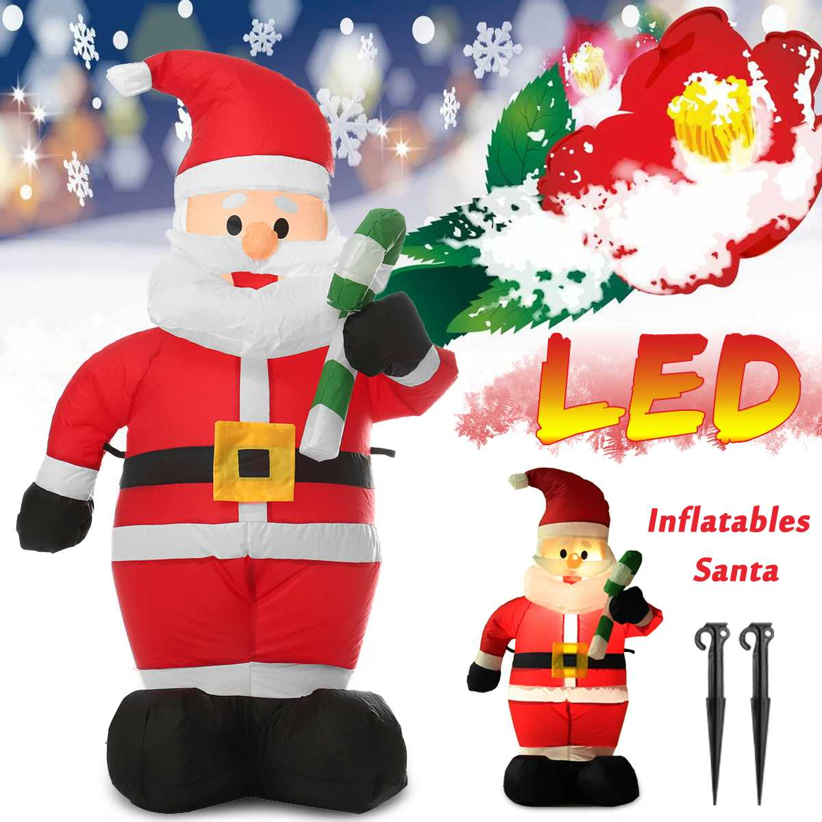 1.2M LED Merry Christmas Air Inflatable Crutches Santa Snowman Claus Indoor Outdoor Layout Garden Home Holiday Party Decor Toys