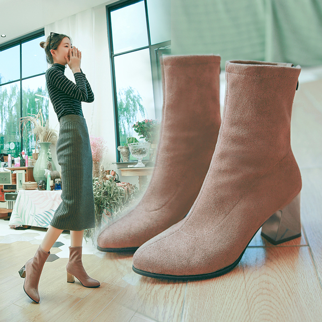 2019 new winter women boots female pointed comfortable Martin boots ladies fashion plus cotton warm shallow boots mujer v33