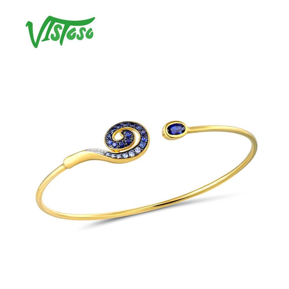 VISTOSO 10 K Ouro Amarelo Criado Sapphire & White Sappire Único Bangle Para Lady Engagement Anniversary Trendy Fine Jewelry Elegante