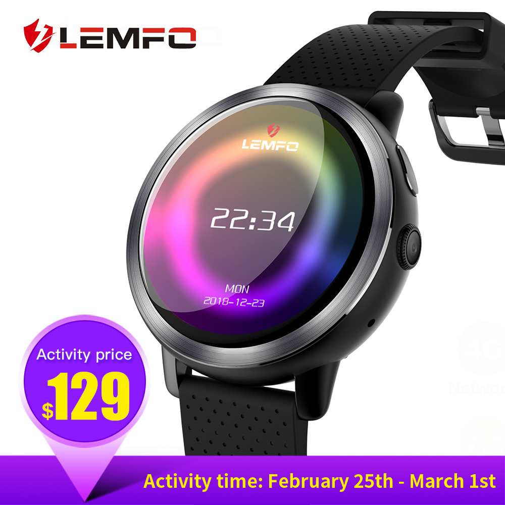 LEMFO LEM8 montre connectée android 7.1 LTE 4G Sim WIFI 1.39 Pouces 2MP Caméra GPS Coeur Taux Nouvelle Année Cadeaux Smartwatch pour homme femme