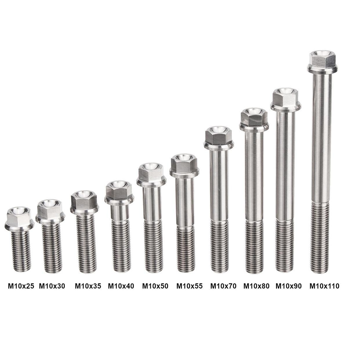 Thread Lock 4pcs M6 x 70 mm Titanium Ti Screw Bolt Hexagon Hex Head Flange