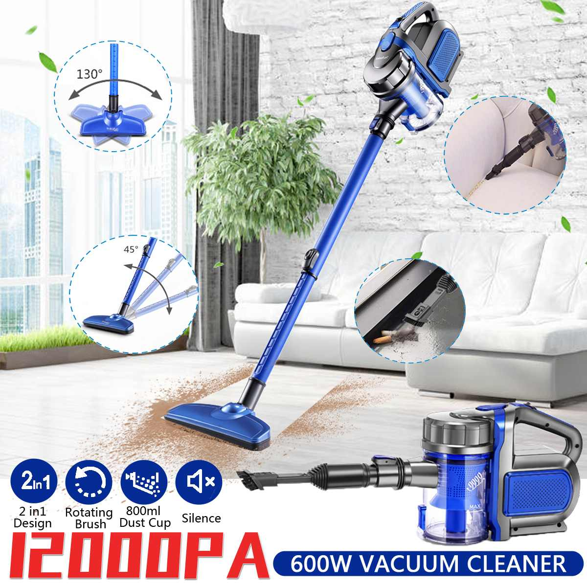 2 in 1 Handheld Vacuum Cleaner 220V 600W Protable Cyclone Filter 12000Pa Suction Carpet Sweep Dust Mite Collector For Home Car