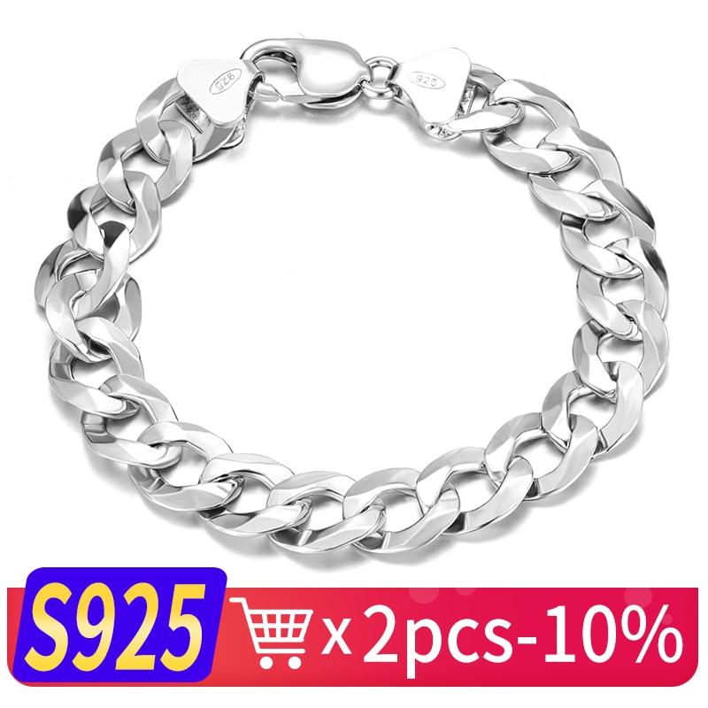 SEM Long et Épais Hommes Mâle Bracelet En Argent Sterling 925 Hip Hop Rappeur Cubain Chaîne Gourmette Bracelet 4mm 5mm 6mm 7mm 8mm 9mm 12mm BM006
