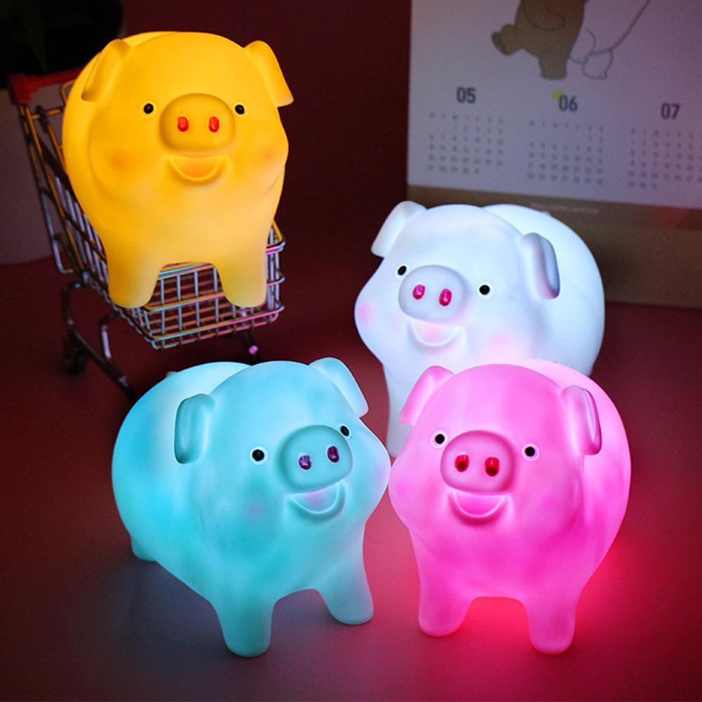 Cartoon Pig PVC Battery Powered LED Night Light Table