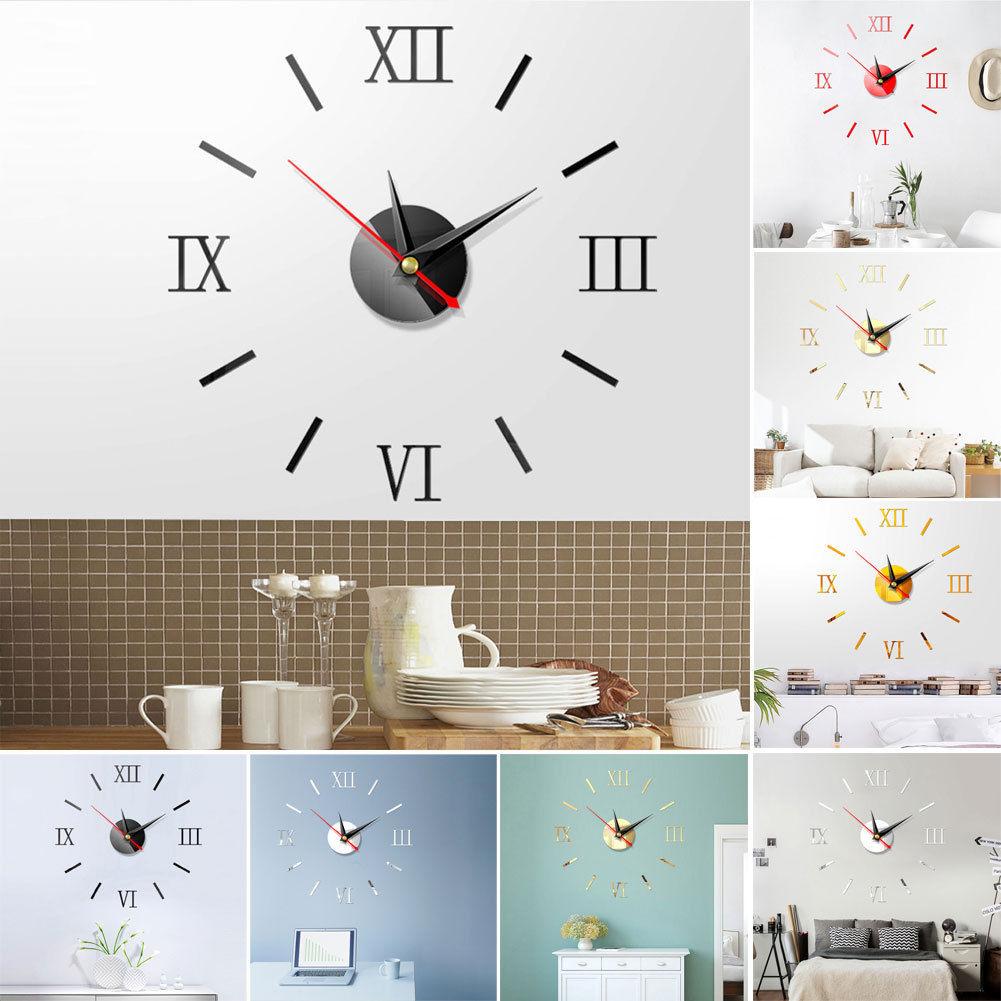 DIY Large Number Wall 3D Clock Mirror Sticker Modern Home Office Decor Art Decal
