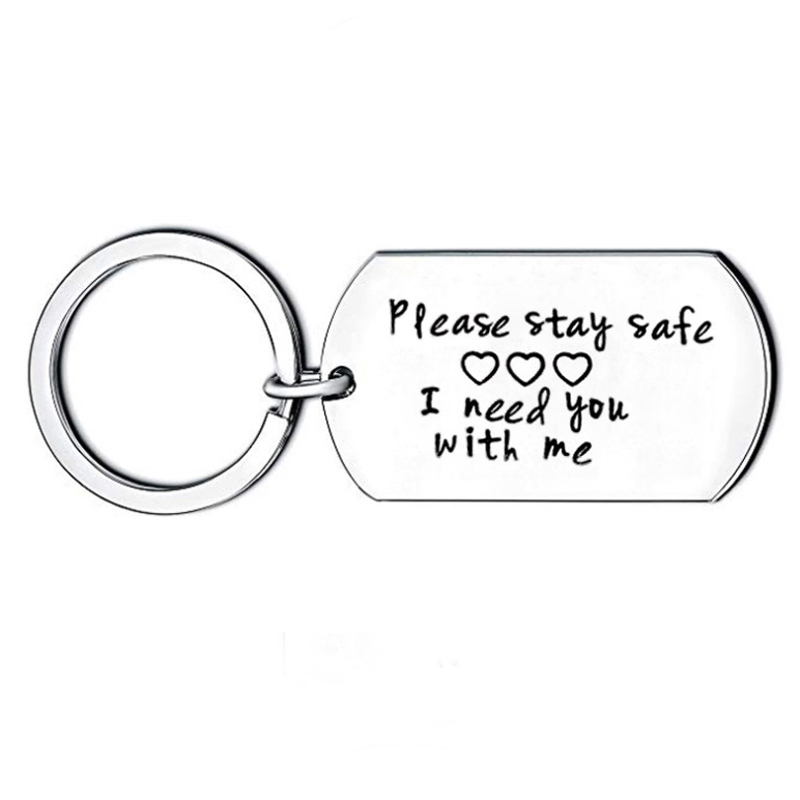 Truck Driver Key Chain Please Stay Safe I Need You Here With Me Handstamped Key Chain Long Distance Gift Trucker Wife Husband