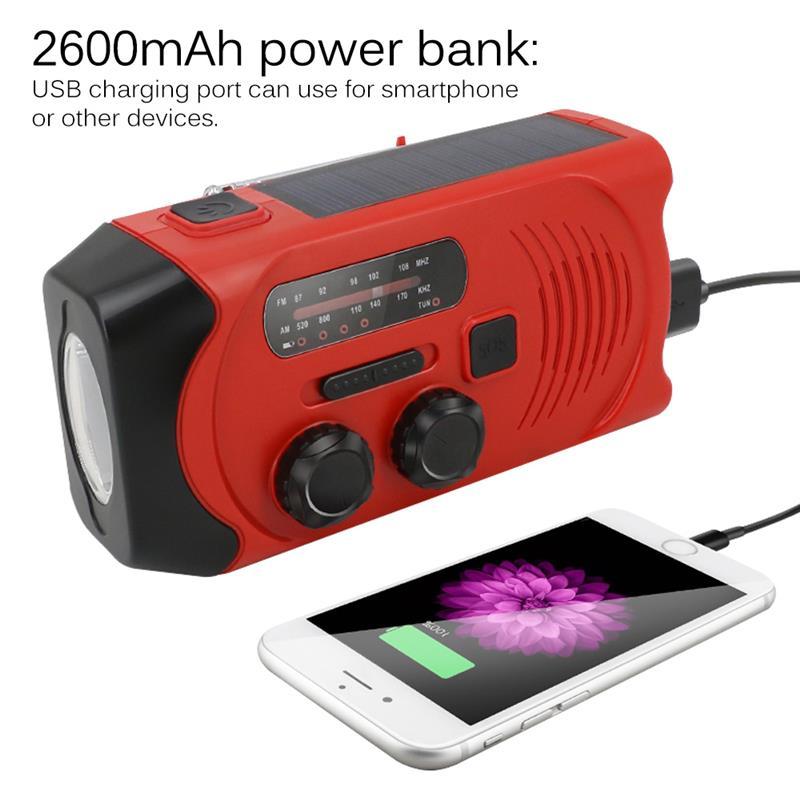 Fornorm Hand Kurbel Solar 3aaa Batterie Noaa Ladegerät Power Bank 4-led Licht Notfall Tragbares Audio & Video