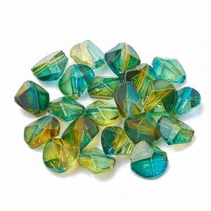 200 шт Двухцветные Акриловые многоугольные бусины для изготовления ювелирных изделий 9x9,5x5,5 мм отверстие: 1 мм