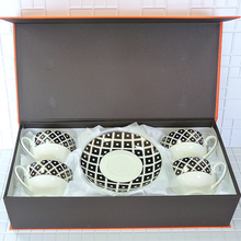 Chinese tea set tea set gaiwan home decoration accessories black and white stripes a set of 8 pieces 250ml gift box marvis black box gift set