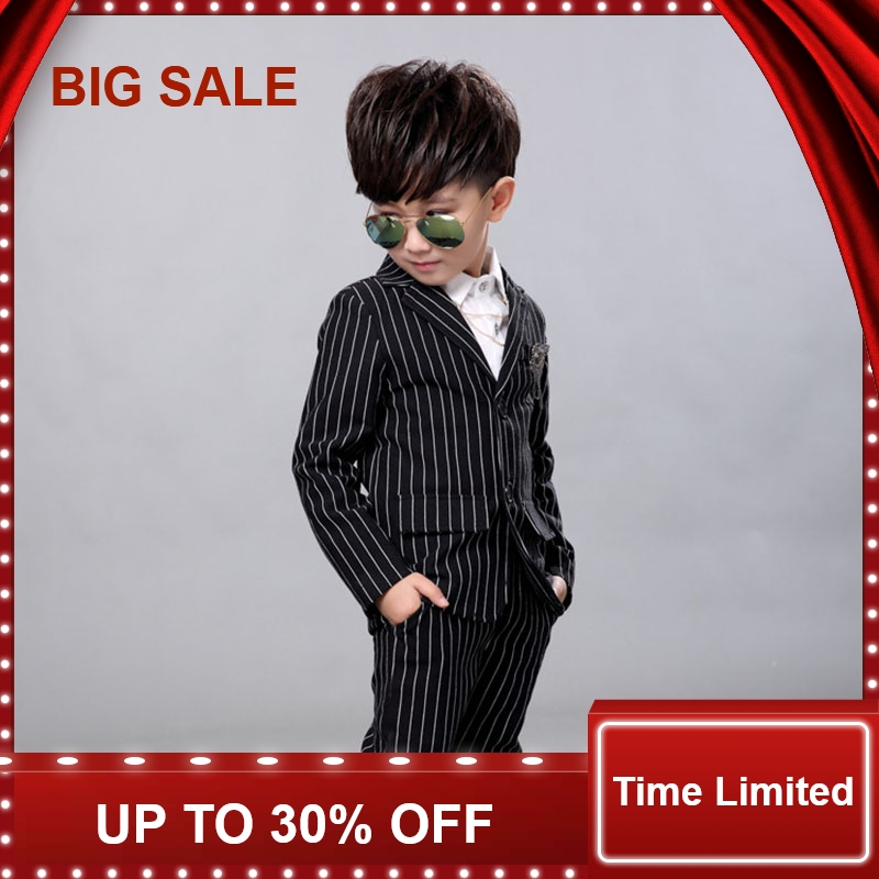New Autumn Children's Formal Clothing Of Striped V Neck Clothes For Boys Gentlemen Suits Party Coat+Pants