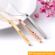 Stainless Steel Four Sides Engraved Jewelry Personalized Custom Letter Bar Charm Pendant Chain Necklace Couple Gift Shellhard