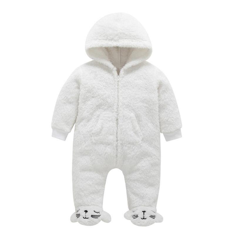 Solid Color Baby Rompers Fleece Cartoon Winter Front