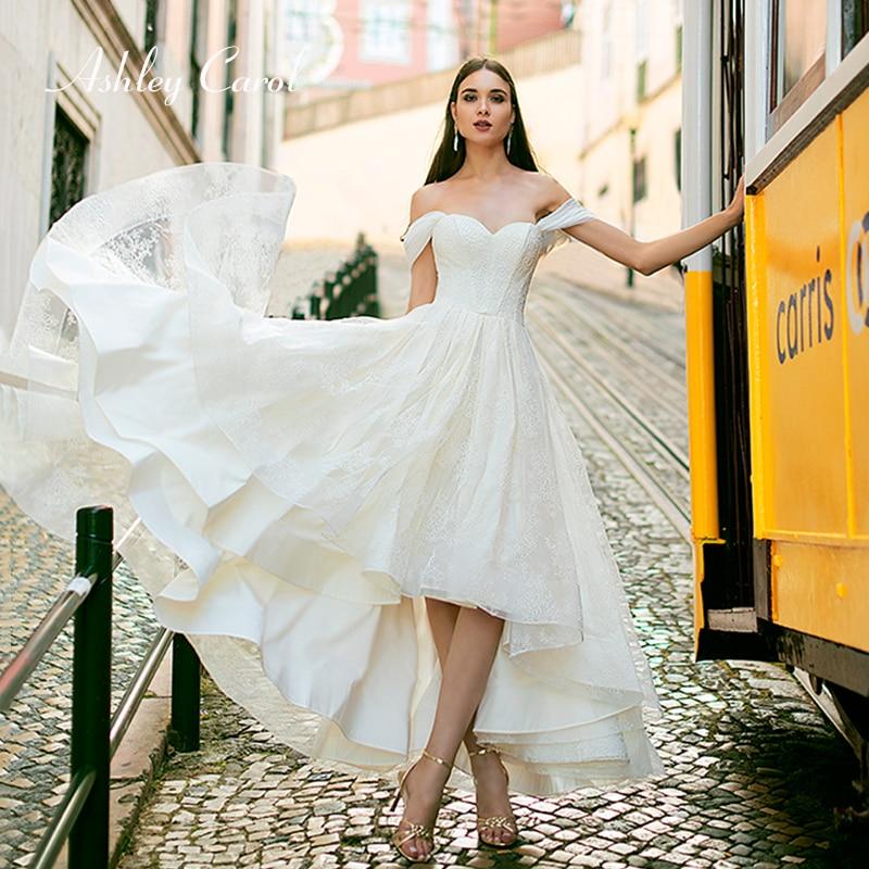 Ashley Carol Appliques High Wedding Dress 2019 Sweetheart Cap Sleeve Tulle Lace Up Simple Princess Bridal Gown Vestido De Novia