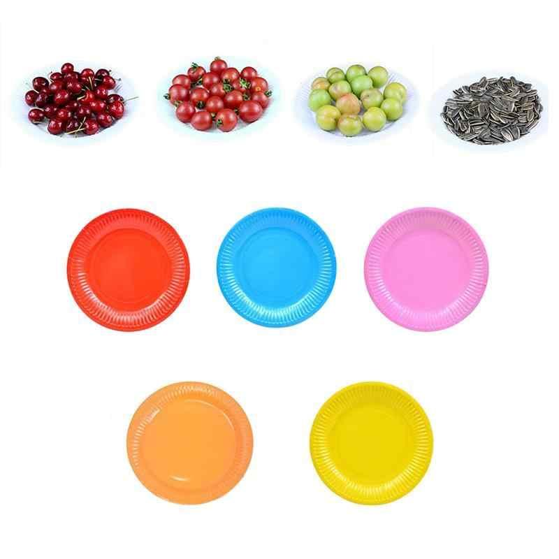 50 шт цветная красочная Одноразовая бумажная тарелка обеденные лотки для бумаг для торта фруктовый десерт блюдо-случайный цвет